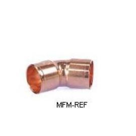 18 mm bocht 45° koperen inw x inw voor koeltechniek