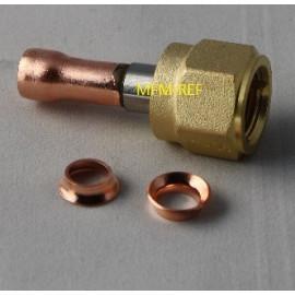 "FA-2 verloopconnectie 1/4"" SAE RVS/CU soldeer + ring"