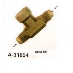 "A-31854 Refco Pieza de T de la válvula Schrader 1/4""SAE x 1/4""SAE inw. x 1/4""SAE"