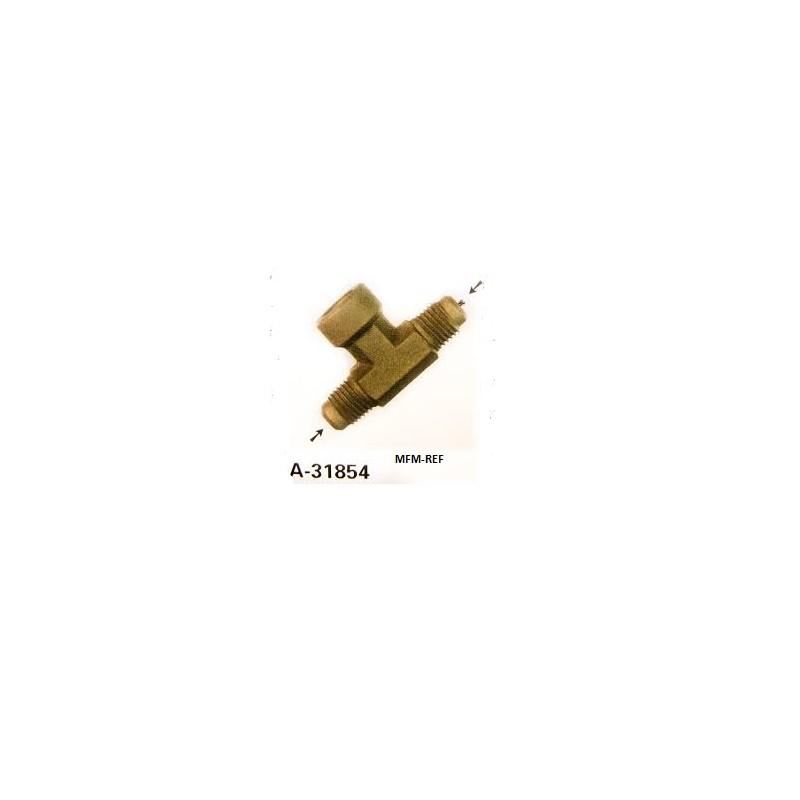"A-31854 Refco Pezzo T valvola Schrader 1/4""SAE x 1/4""SAE inw. x 1/4""SAE"