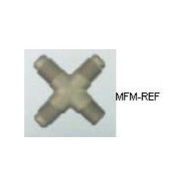 A-31522 Refco pezzo trasversale valvole Schrader 1/8 NPT x 1/4 SAE x 1/4 SAE x 1/4 SAE