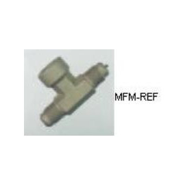 """A-31854 Refco Schrader valve T piece 1/4""""SAE x 1/4""""SAE inw. x 1/4""""SAE"""
