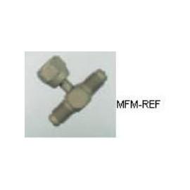 VAU-272 Schrader valve T piece 5/16 SAE swivel x 1/4SAE x 1/4SAE