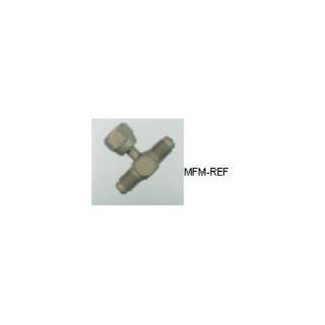 VAU-272 Morceau de Schrader valve T  5/16 SAE pivotantl x 1/4SAE x 1/4SAE