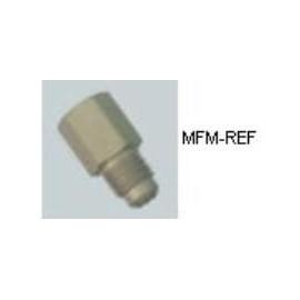 """A-31614 Refco válvula Schrader 1/4""""SAE x 1/4""""SAE Incluído com a válvula de anel de vedação e a tampa."""