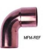 Polegadas de curva de cobre 90 ° + mm para refrigeração